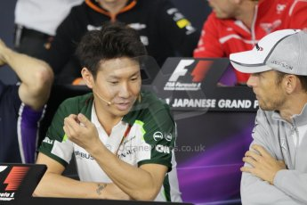 World © Octane Photographic Ltd. Thursday 2nd October 2014, Japanese Grand Prix - Suzuka. - Formula 1 Drivers' Press conference. Caterham F1 Team – Kamui Kobayashi. Digital Ref: