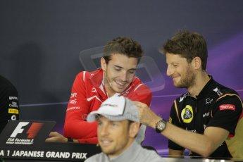 World © Octane Photographic Ltd. Thursday 2nd October 2014, Japanese Grand Prix - Suzuka. - Formula 1 Drivers' Press conference. Marussia F1 Team MR03 - Jules Bianchi and Lotus F1 Team - Romain Grosjean. Digital Ref: