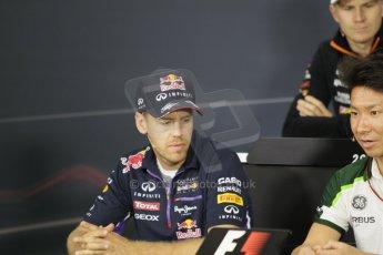 World © Octane Photographic Ltd. Thursday 2nd October 2014, Japanese Grand Prix - Suzuka. Formula 1 Drivers' Press conference. Infiniti Red Bull Racing - Sebastian Vettel. Digital Ref:
