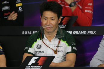 World © Octane Photographic Ltd. Thursday 2nd October 2014, Japanese Grand Prix - Suzuka. - Formula 1 Drivers' Press conference. Caterham F1 Team – Kamui Kobayashi. Digital Ref: 1131LB1D4235