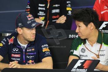 World © Octane Photographic Ltd. Thursday 2nd October 2014, Japanese Grand Prix - Suzuka. Formula 1 Drivers' Press conference. Infiniti Red Bull Racing - Sebastian Vettel and Caterham F1 Team – Kamui Kobayashi. Digital Ref: 1131LB1D4242