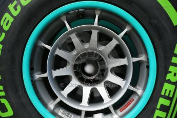 World © Octane Photographic Ltd. 2014 Formula 1 Winter Testing, Circuito de Velocidad, Jerez Winter testing set up day – Monday 27th January 2014. Mercedes AMG Petronas wheels with Pirelli green intermediate compound tyres. Digital Ref : 0879cb1d9357