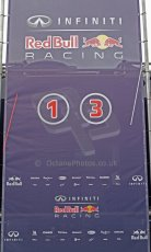 World © Octane Photographic Ltd. 2014 Formula 1 Winter Testing, Circuito de Velocidad, Jerez Winter testing set up day – Monday 27th January 2014. Infiniti Red Bull Racing press conference backdrop with Vettel's and Ricciardo's car new personal numbers. Digital Ref : 0879cb7d6970