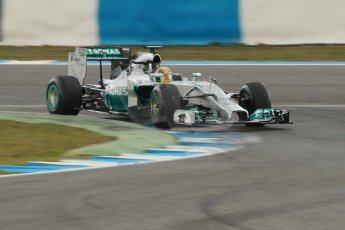 World © Octane Photographic Ltd. 2014 Formula 1 Winter Testing, Circuito de Velocidad, Jerez. Tuesday 28th January 2014. Day 1. Mercedes AMG Petronas F1 W05 – Lewis Hamilton. Digital Ref: 0882cb1d9439