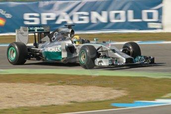 World © Octane Photographic Ltd. 2014 Formula 1 Winter Testing, Circuito de Velocidad, Jerez. Tuesday 28th January 2014. Day 1. Mercedes AMG Petronas F1 W05 – Lewis Hamilton. Digital Ref: 0882cb1d9510