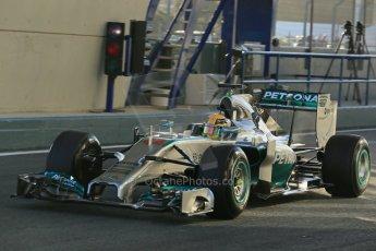 World © Octane Photographic Ltd. 2014 Formula 1 Winter Testing, Circuito de Velocidad, Jerez. Tuesday 28th January 2014. Day 1. Mercedes AMG Petronas F1 W05 – Lewis Hamilton. Digital Ref: 0882lb1d0059