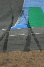 World © Octane Photographic Ltd. 2014 Formula 1 Winter Testing, Circuito de Velocidad, Jerez. Tuesday 28th January 2014. Day 1. Mercedes AMG Petronas F1 W05 – Lewis Hamilton skid marks from earlier crash. Digital Ref: 0882lb1d0374