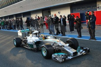 World © Octane Photographic Ltd. 2014 Formula 1 Winter Testing, Circuito de Velocidad, Jerez. Tuesday 28th January 2014. Day 1. Mercedes AMG Petronas F1 W05 – Lewis Hamilton. Digital Ref: 0882lb7d7413