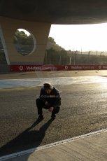World © Octane Photographic Ltd. 2014 Formula 1 Winter Testing, Circuito de Velocidad, Jerez. Tuesday 28th January 2014. Day 1. Pirelli technician checking the track temperature. Digital Ref: 0882lb7d7425