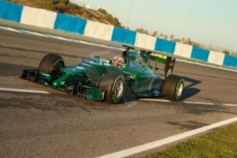 World © Octane Photographic Ltd. 2014 Formula 1 Winter Testing, Circuito de Velocidad, Jerez. Thursday 30th January 2014. Day 3. Caterham F1 Team CT05 – Robin Frijns. Digital Ref: 0887cb1d0386
