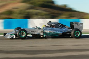 World © Octane Photographic Ltd. 2014 Formula 1 Winter Testing, Circuito de Velocidad, Jerez. Thursday 30th January 2014. Day 3. Mercedes AMG Petronas F1 W05 – Lewis Hamilton. Digital Ref: 0887cb1d0541