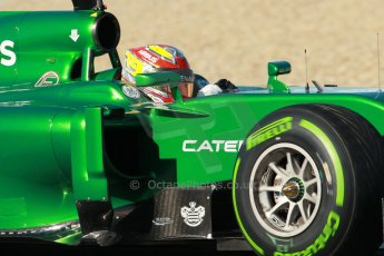 World © Octane Photographic Ltd. 2014 Formula 1 Winter Testing, Circuito de Velocidad, Jerez. Thursday 30th January 2014. Day 3. Caterham F1 Team CT05 – Robin Frijns. Digital Ref: 0887cb1d0696