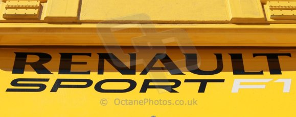 World © Octane Photographic Ltd. 2014 Formula 1 Winter Testing, Circuito de Velocidad, Jerez. Thursday 30th January 2014. Day 3. Renault Sport F1 Logo. Digital Ref: 0887cb1d1235