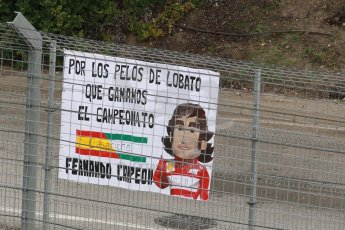 World © Octane Photographic Ltd. 2014 Formula 1 Winter Testing, Circuito de Velocidad, Jerez. Friday 31st January 2014. Day 4. Fernando Alonso fans banner. Digital Ref: 0888cb1d1628