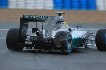 World © Octane Photographic Ltd. 2014 Formula 1 Winter Testing, Circuito de Velocidad, Jerez. Friday 31st January 2014. Day 4. Mercedes AMG Petronas F1 W05 - Nico Rosberg briefly trying out his older yellow helmet. Rear end details. Digital Ref: 0888lb1d2829