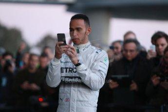 World © Octane Photographic Ltd. 2014 Formula 1 Winter Testing, Circuito de Velocidad, Jerez. Tuesday 27th January 2014. Mercedes AMG Petronas F1 W05 launch – Lewis Hamilton. Digital Ref: 0884cb1d9166