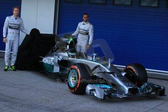 World © Octane Photographic Ltd. 2014 Formula 1 Winter Testing, Circuito de Velocidad, Jerez. Tuesday 27th January 2014. Mercedes AMG Petronas F1 W05 launch – Nico Rosberg and Lewis Hamilton. Digital Ref: 0884lb1d9667