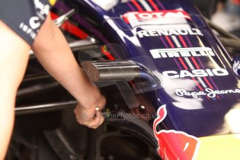 World © Octane Photographic Ltd. Thursday 22nd May 2014. Monaco - Monte Carlo - Formula 1 Practice 1. Infiniti Red Bull Racing RB10 - new nose camera mountings. Digital Ref: 0958CB7D1986