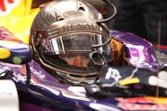 World © Octane Photographic Ltd. Thursday 22nd May 2014. Monaco - Monte Carlo - Formula 1 Practice 1. Infiniti Red Bull Racing RB10 - Sebastian Vettel in his Monaco special helmet. Digital Ref: 0958CB7D2000