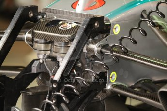 World © Octane Photographic Ltd. Thursday 22nd May 2014. Monaco - Monte Carlo - Formula 1 Practice 1. Mercedes AMG Petronas F1 W05 Hybrid - fluid bottles and front bulkhead. Digital Ref: 0958CB7D2016