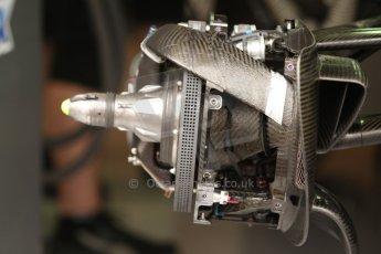World © Octane Photographic Ltd. Thursday 22nd May 2014. Monaco - Monte Carlo - Formula 1 Practice 1. Mercedes AMG Petronas F1 W05 Hybrid - Front brake with sheathing removed. Digital Ref: 0958CB7D2054