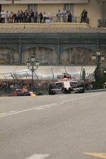 World © Octane Photographic Ltd. Thursday 22nd May 2014. Monaco - Monte Carlo - Formula 1 Practice 2. Marussia F1 Team MR03 - Jules Bianchi and Infiniti Red Bull Racing RB10 – Daniel Ricciardo. Digital Ref: 0960LB1D6571