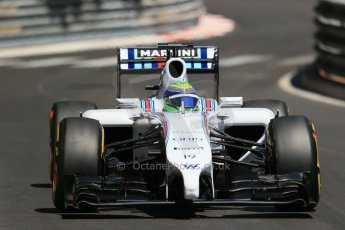 World © Octane Photographic Ltd. Saturday 24th May 2014. Monaco - Monte Carlo - Formula 1 Practice 3. Williams Martini Racing FW36 – Felipe Massa. Digital Ref: 0965LB1D7682