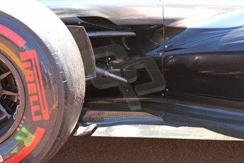 World © Octane Photographic Ltd. Saturday 24th May 2014. Monaco - Monte Carlo - Formula 1 Qualifying. McLaren Mercedes MP4/29 rear bodywork, floor and suspension detail. Digital Ref: 0967CB7D3306