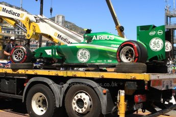World © Octane Photographic Ltd. Saturday 24th May 2014. Monaco - Monte Carlo - Formula 1 Qualifying. Caterham F1 Team CT05 – Marcus Ericsson's car returns to the pits on a flatbed truck. Digital Ref: 0967CB7D5359