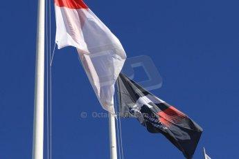 World © Octane Photographic Ltd. Saturday 24th May 2014. Monaco - Monte Carlo - Formula 1 Qualifying. F1 and Monaco flags. Digital Ref: 0967CB7D5464