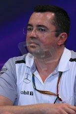 World © Octane Photographic Ltd. Thursday 22nd May 2014. Monaco - Monte Carlo - Formula 1 Press conference. McLaren Mercedes Racing Director - Eric Boullier. Digital Ref: 0961LB1D4959