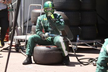 World © Octane Photographic Ltd. Friday 23rd May 2014. GP2 Feature Race – Monaco, Monte Carlo. EQ8 Caterham Racing ready for pitstop. Digital Ref : 0963CB7D2994