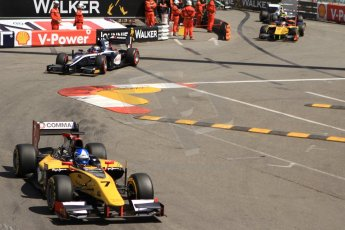 World © Octane Photographic Ltd. Friday 23rd May 2014. GP2 Feature Race – Monaco, Monte Carlo. Jolyon Palmer - DAMS leads Mitch Evans - RT Russian Time. Digital Ref : 0963CB7D5188