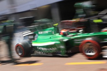 World © Octane Photographic Ltd. Friday 23rd May 2014. GP2 Feature Race – Monaco, Monte Carlo. Alexander Rossi powers out of his pit stop - EQ8 Caterham Racing. Digital Ref : 0963CB7D5322