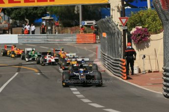 World © Octane Photographic Ltd. Friday 23rd May 2014. GP2 Feature Race – Monaco, Monte Carlo. Mitch Evans - RT Russian Time leads Jolyon Palmer - DAMS. Digital Ref : 0963LB1D5135