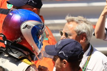 World © Octane Photographic Ltd. Friday 23rd May 2014. GP2 Feature Race – Monaco, Monte Carlo. Jolyon Palmer celebrates with DAMS boss Jean-Paul Driot. Digital Ref : 0963LB1D7224