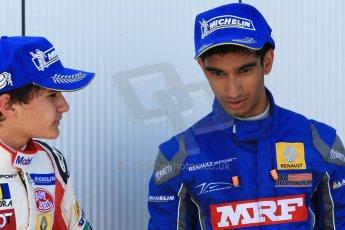 World © Octane Photographic Ltd. Protyre Formula Renault Championship. June 1st 2014.  Race 2 – Castle Donington. Pietro Fittipaldi and Tarun Reddy – MGR Motorsport. Digital Ref : 0975CB1D0838