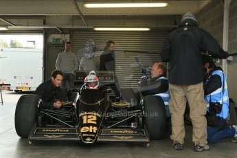 World © Octane Photographic Ltd. Senna Formula 1 car showcase filmed by Sky F1 at Donington Park race track. Tuesday 8th April 2014. Bruno Senna talks to Martin Brundle while he's in the Lotus 98T. Digital Ref : 0904lb1d3943