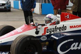 World © Octane Photographic Ltd. Senna Formula 1 car showcase filmed by Sky F1 at Donington Park race track. Tuesday 8th April 2014. Ex-Ayrton Senna Toleman TG184 - Alastair Davidson. Digital Ref : 0904lb1d9916