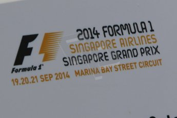 World © Octane Photographic Ltd. Friday 19th September 2014, Singapore Grand Prix, Marina Bay. - Formula 1 Practice 1. Event logo. Digital Ref: