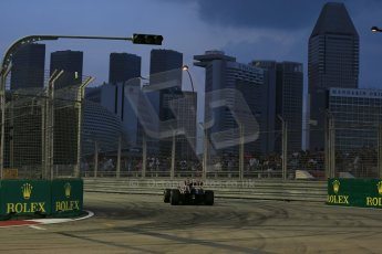World © Octane Photographic Ltd. Friday 19th September 2014, Singapore Grand Prix, Marina Bay. - Formula 1 Practice 1. Lotus F1 Team E22 – Pastor Maldonado. Digital Ref: 1118LB1D9810