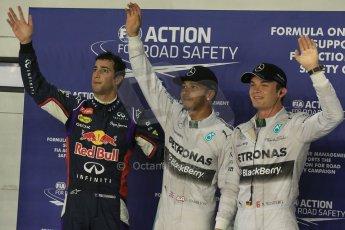 World © Octane Photographic Ltd. Saturday 20th September 2014, Singapore Grand Prix, Marina Bay. - Formula 1 Qualifying Parc Ferme. Mercedes AMG Petronas F1 W05 – Lewis Hamilton (pole) and Nico Rosberg (2nd) and in 3rd Infiniti Red Bull Racing RB10 – Daniel Ricciardo. Digital Ref: 1125LB1D2948