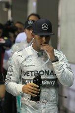 World © Octane Photographic Ltd. Saturday 20th September 2014, Singapore Grand Prix, Marina Bay. - Formula 1 Qualifying Parc Ferme. Mercedes AMG Petronas F1 W05 – Lewis Hamilton. Digital Ref: 1125LB1D2972