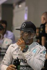 World © Octane Photographic Ltd. Saturday 20th September 2014, Singapore Grand Prix, Marina Bay. - Formula 1 Qualifying Parc Ferme. Mercedes AMG Petronas F1 W05 – Lewis Hamilton. Digital Ref: 1125LB1D2981