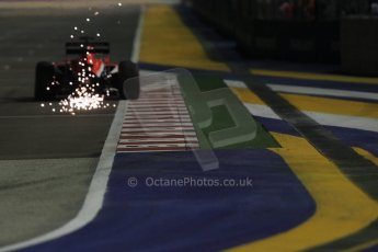 World © Octane Photographic Ltd. Saturday 20th September 2014, Singapore Grand Prix, Marina Bay. - Formula 1 Qualifying. Marussia F1 Team MR03 - Jules Bianchi kicking up sparks. Digital Ref: 1124CB1D9775