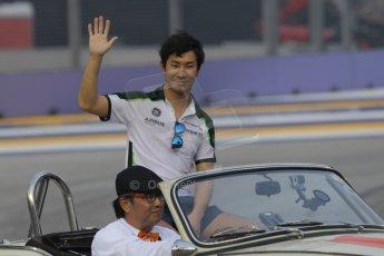 World © Octane Photographic Ltd. Saturday 20th September 2014, Singapore Grand Prix, Marina Bay. - Formula 1 Drivers' Parade. Caterham F1 Team CT05 – Kamui Kobayashi. Digital Ref: 1127CB1D0951