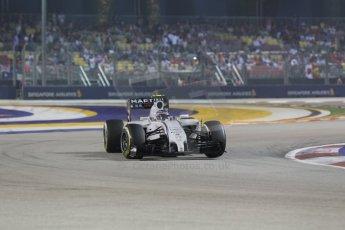World © Octane Photographic Ltd. Saturday 20th September 2014, Singapore Grand Prix, Marina Bay. - Formula 1 Race outlap. Williams Martini Racing FW36 – Valtteri Bottas. Digital Ref: 1127CB1D1082