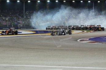 World © Octane Photographic Ltd. Sunday 21st September 2014, Singapore Grand Prix, Marina Bay. - Formula 1 Race start lap 1. Digital Ref: 1127CB1D1185