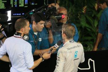 World © Octane Photographic Ltd. Sunday 21st September 2014, Singapore Grand Prix, Marina Bay. - Formula 1 Post Retirment press meet. Mercedes AMG Petronas F1 W05 - Nico Rosberg. Digital Ref: