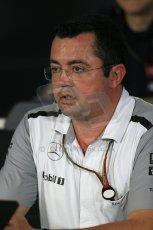 World © Octane Photographic Ltd. Friday 19th September 2014, Singapore Grand Prix, Marina Bay. - Formula 1 Team Personnel Press Conference - McLaren Mercedes - Eric Boullier. Digital Ref: